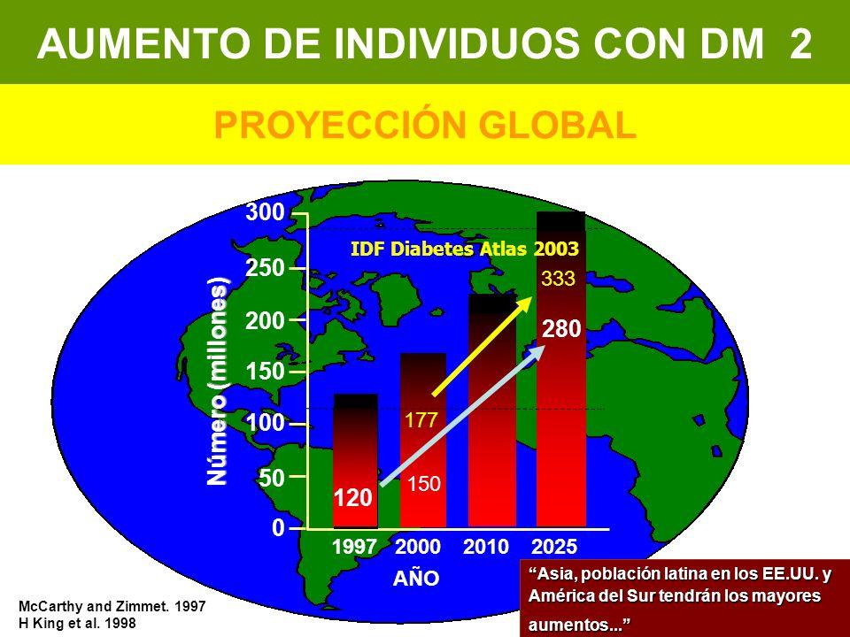 AUMENTO DE INDIVIDUOS CON DM 2 PROYECCIÓN GLOBAL McCarthy and Zimmet. 1997 H King et al. 1998 250 200 150 100 50 0 199720002010 Número (millones) AÑO