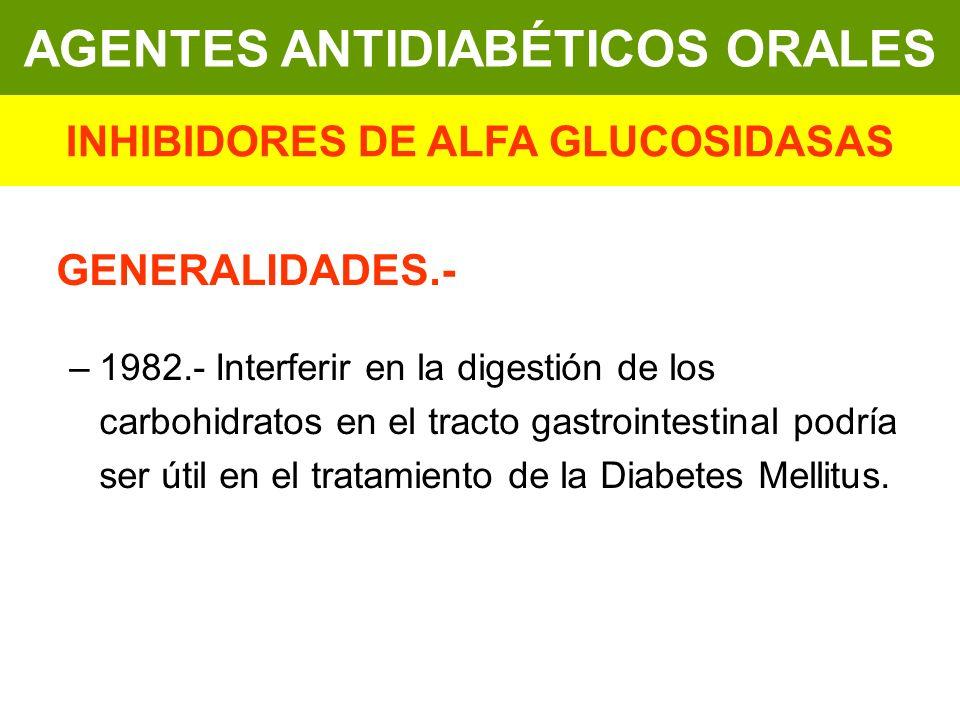 GENERALIDADES.- –1982.- Interferir en la digestión de los carbohidratos en el tracto gastrointestinal podría ser útil en el tratamiento de la Diabetes