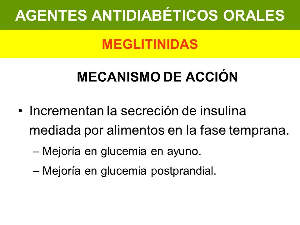 MECANISMO DE ACCIÓN Incrementan la secreción de insulina mediada por alimentos en la fase temprana. –Mejoría en glucemia en ayuno. –Mejoría en glucemi