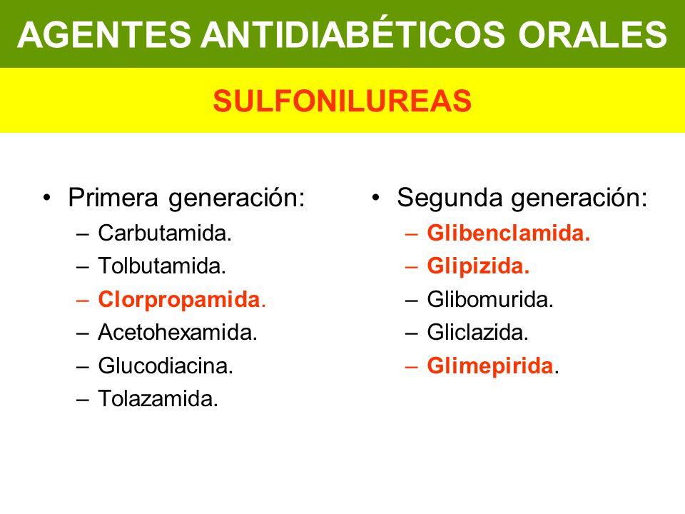 Primera generación: –Carbutamida. –Tolbutamida. –Clorpropamida. –Acetohexamida. –Glucodiacina. –Tolazamida. Segunda generación: –Glibenclamida. –Glipi