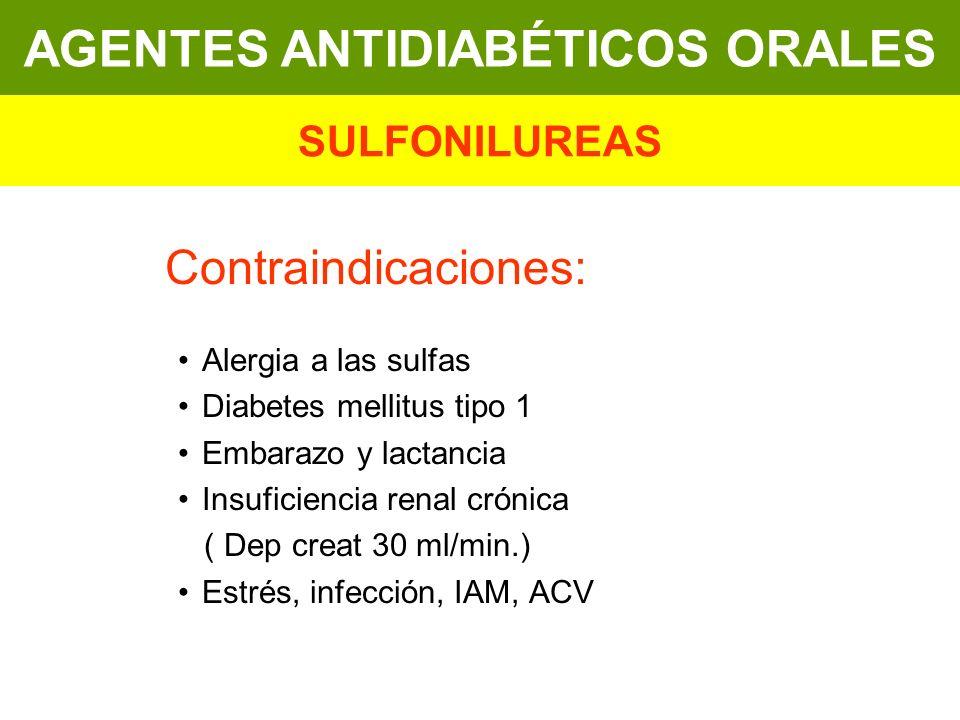 Contraindicaciones: Alergia a las sulfas Diabetes mellitus tipo 1 Embarazo y lactancia Insuficiencia renal crónica ( Dep creat 30 ml/min.) Estrés, inf
