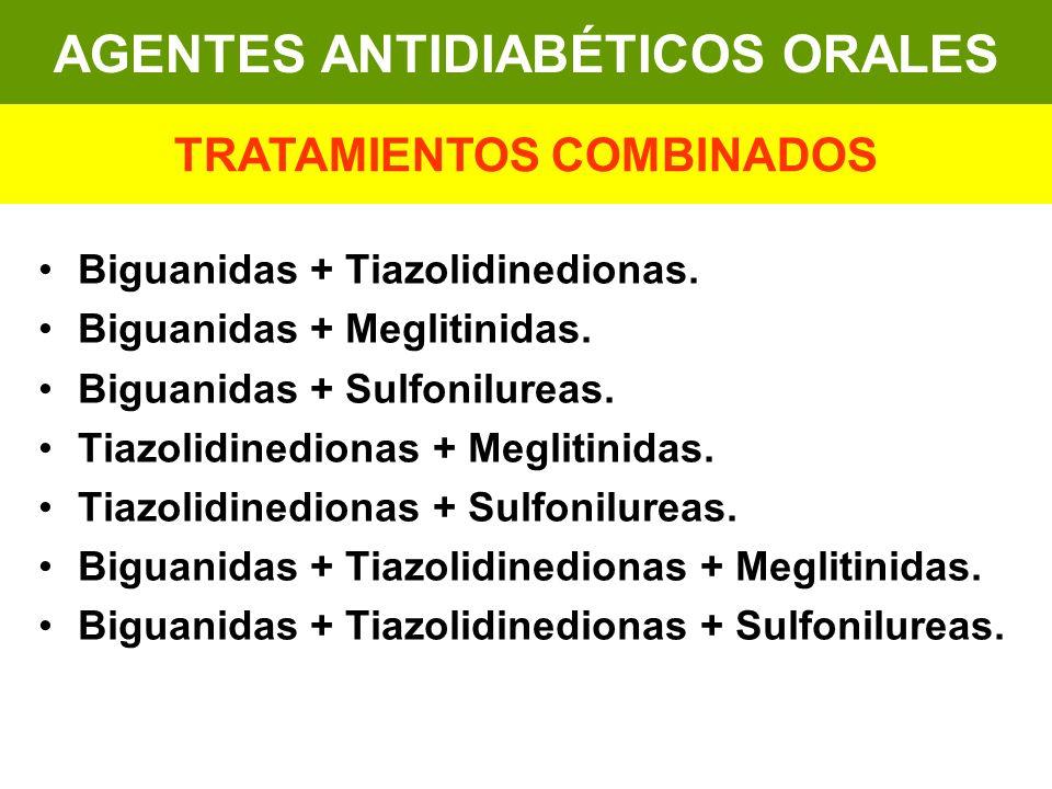 Biguanidas + Tiazolidinedionas. Biguanidas + Meglitinidas. Biguanidas + Sulfonilureas. Tiazolidinedionas + Meglitinidas. Tiazolidinedionas + Sulfonilu