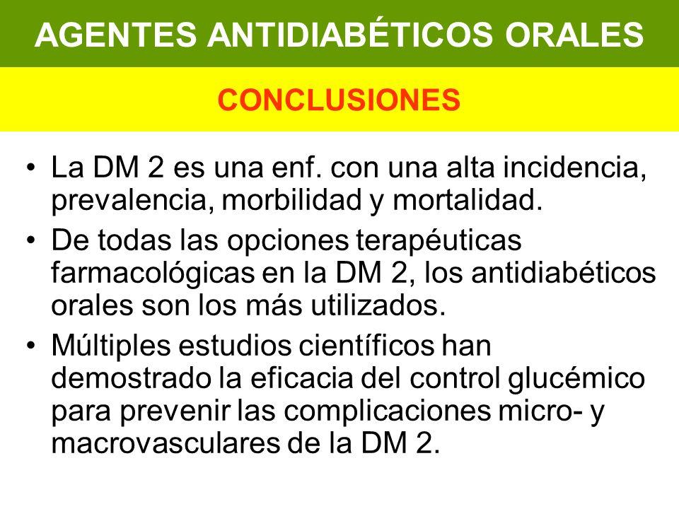 La DM 2 es una enf. con una alta incidencia, prevalencia, morbilidad y mortalidad. De todas las opciones terapéuticas farmacológicas en la DM 2, los a