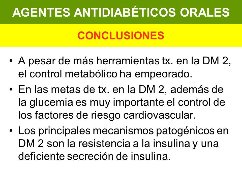 A pesar de más herramientas tx. en la DM 2, el control metabólico ha empeorado. En las metas de tx. en la DM 2, además de la glucemia es muy important