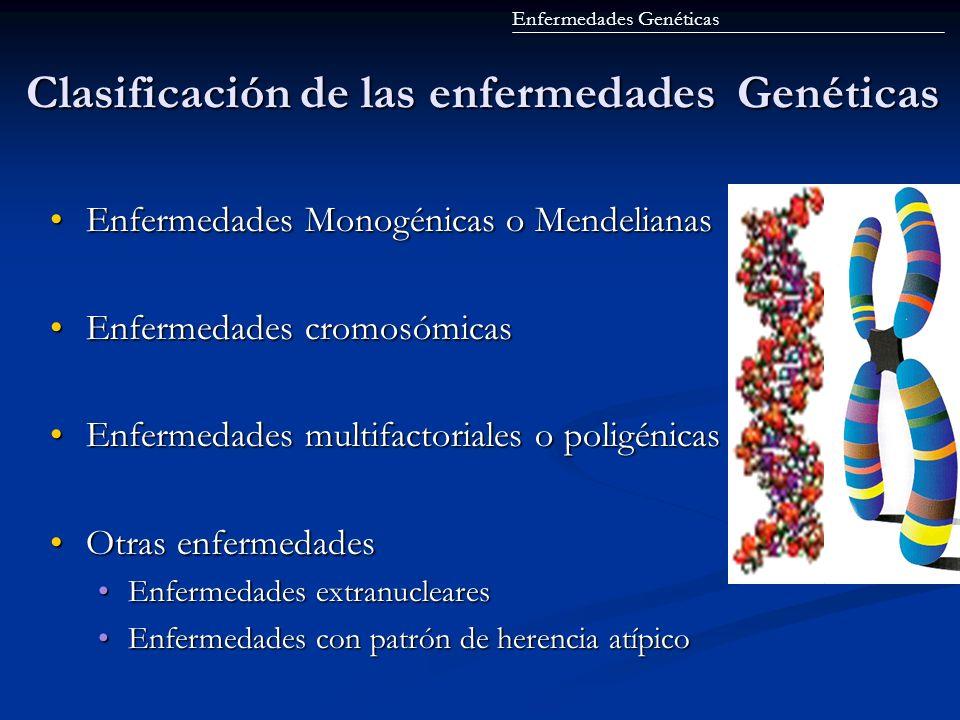 Clasificación de las enfermedades Genéticas Enfermedades Monogénicas o MendelianasEnfermedades Monogénicas o Mendelianas Enfermedades cromosómicasEnfe