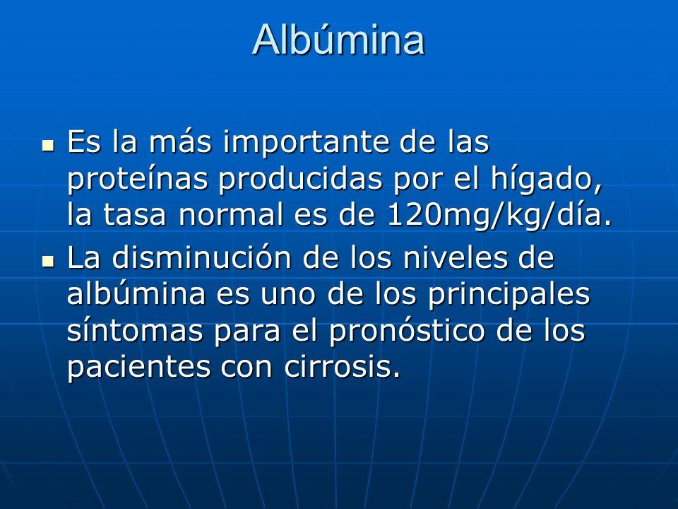 Albúmina Es la más importante de las proteínas producidas por el hígado, la tasa normal es de 120mg/kg/día. Es la más importante de las proteínas prod