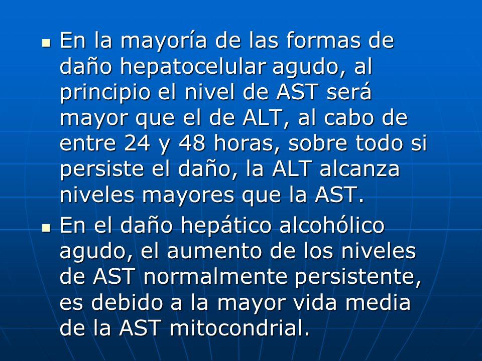 En la mayoría de las formas de daño hepatocelular agudo, al principio el nivel de AST será mayor que el de ALT, al cabo de entre 24 y 48 horas, sobre