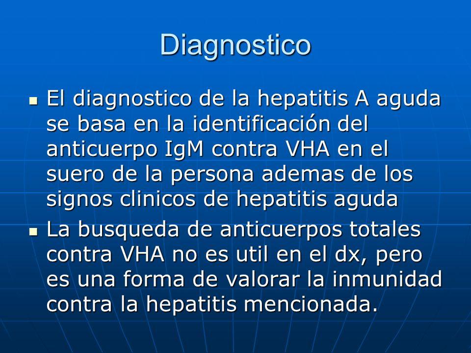 Diagnostico El diagnostico de la hepatitis A aguda se basa en la identificación del anticuerpo IgM contra VHA en el suero de la persona ademas de los