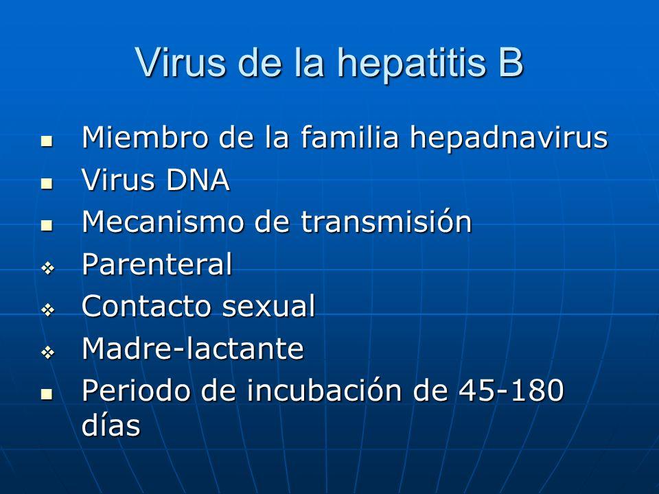 Virus de la hepatitis B Miembro de la familia hepadnavirus Miembro de la familia hepadnavirus Virus DNA Virus DNA Mecanismo de transmisión Mecanismo d