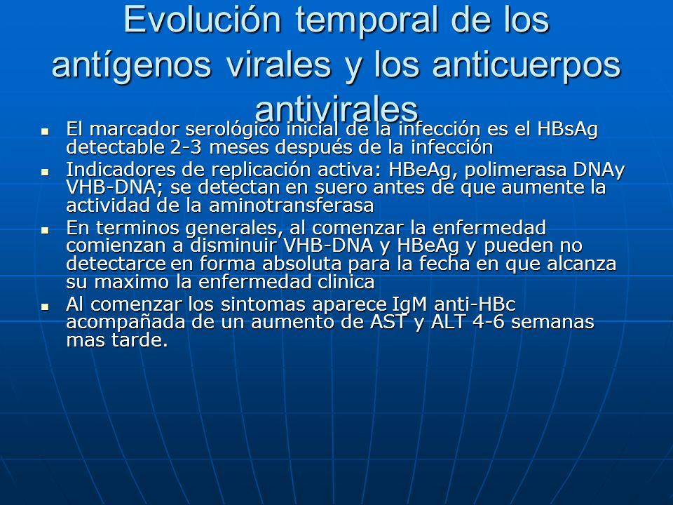 Evolución temporal de los antígenos virales y los anticuerpos antivirales El marcador serológico inicial de la infección es el HBsAg detectable 2-3 me
