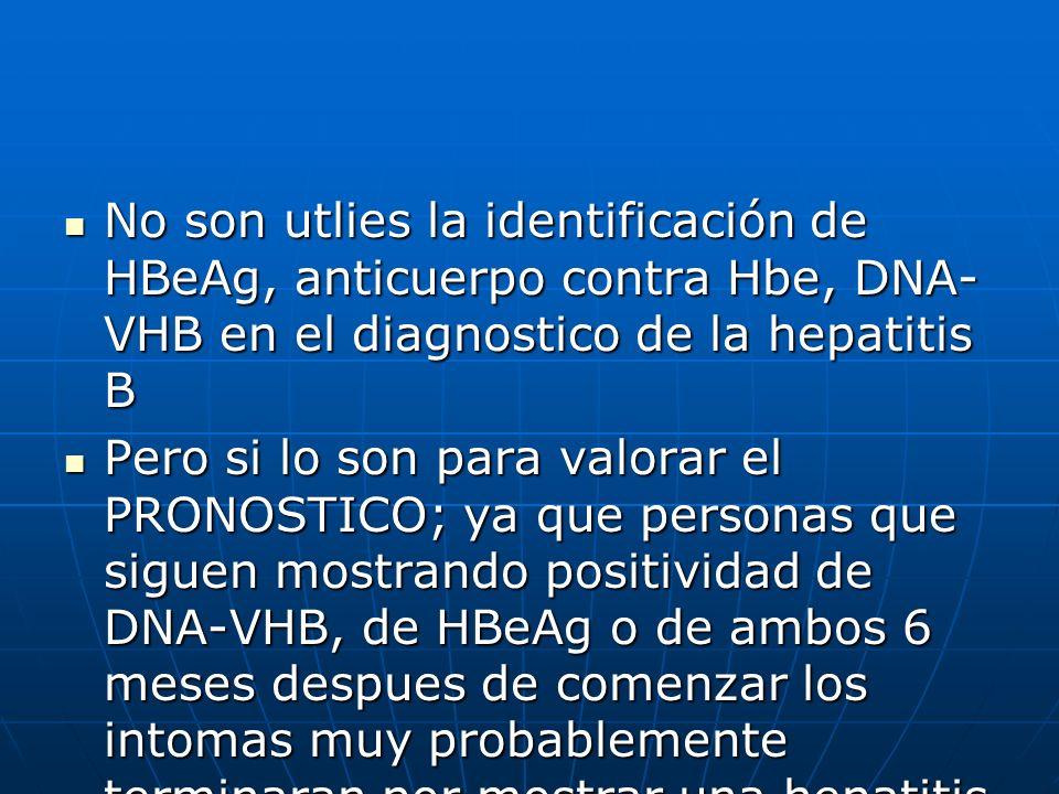 No son utlies la identificación de HBeAg, anticuerpo contra Hbe, DNA- VHB en el diagnostico de la hepatitis B No son utlies la identificación de HBeAg