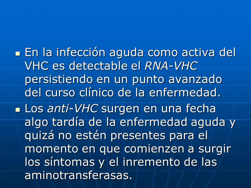En la infección aguda como activa del VHC es detectable el RNA-VHC persistiendo en un punto avanzado del curso clínico de la enfermedad. En la infecci
