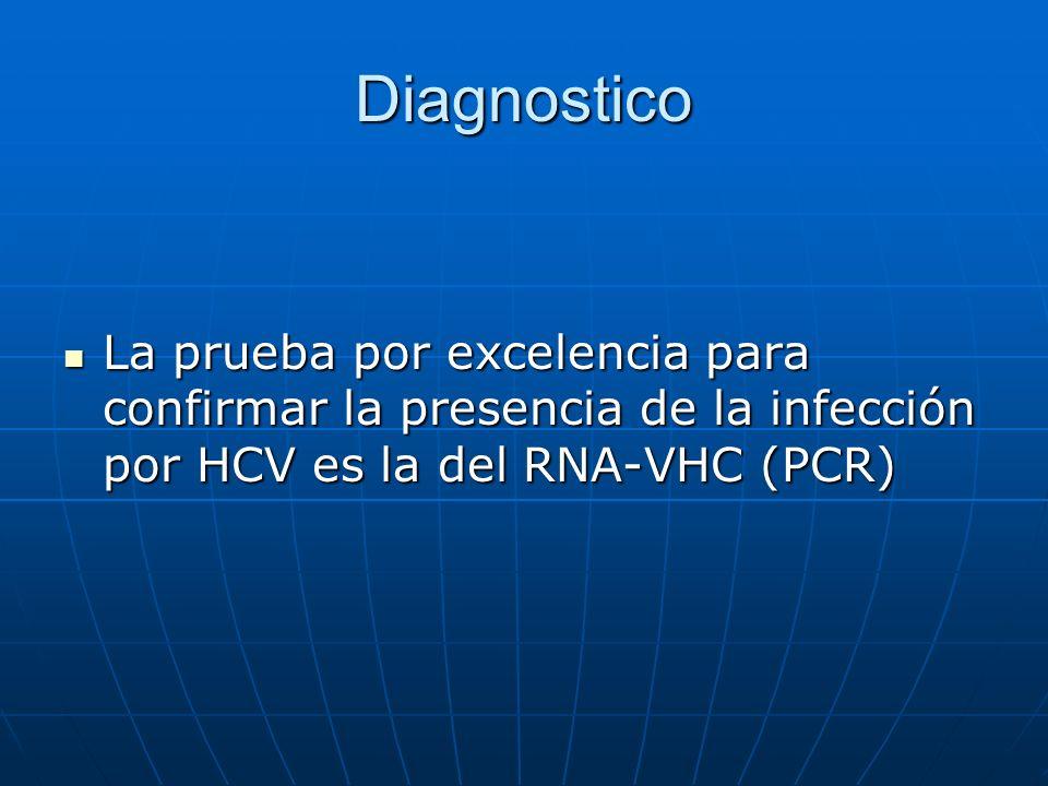 Diagnostico La prueba por excelencia para confirmar la presencia de la infección por HCV es la del RNA-VHC (PCR) La prueba por excelencia para confirm