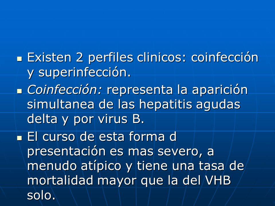 Existen 2 perfiles clinicos: coinfección y superinfección. Existen 2 perfiles clinicos: coinfección y superinfección. Coinfección: representa la apari