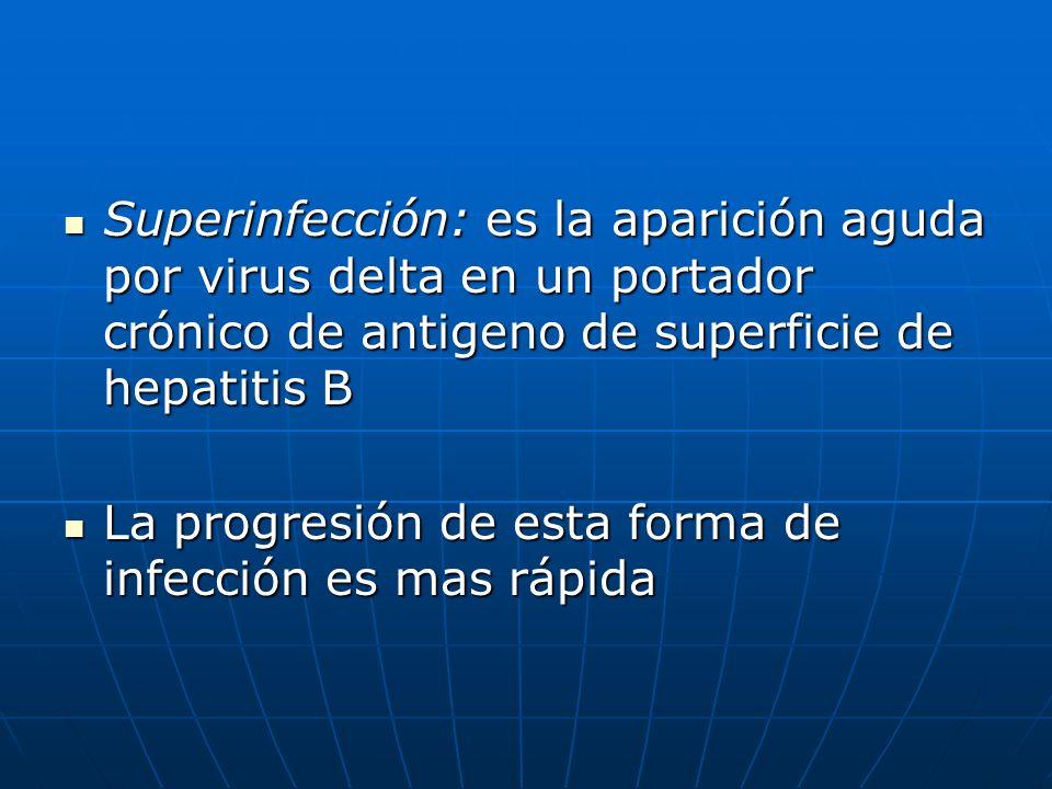 Superinfección: es la aparición aguda por virus delta en un portador crónico de antigeno de superficie de hepatitis B Superinfección: es la aparición
