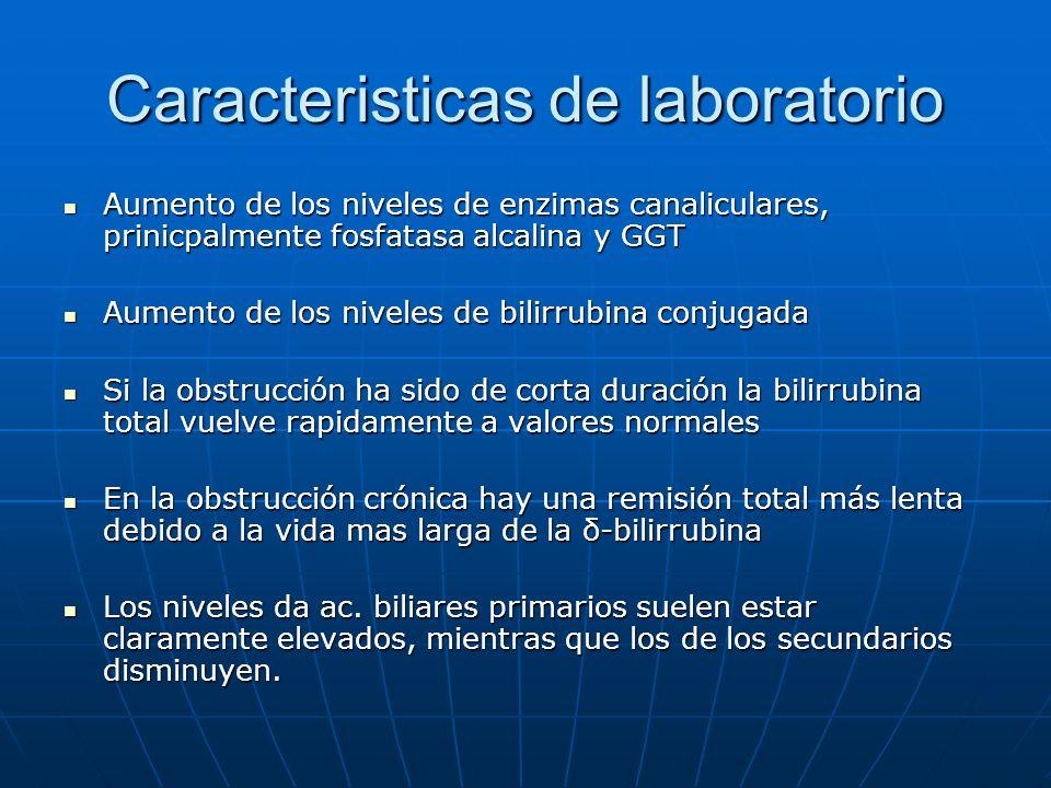 Caracteristicas de laboratorio Aumento de los niveles de enzimas canaliculares, prinicpalmente fosfatasa alcalina y GGT Aumento de los niveles de enzi