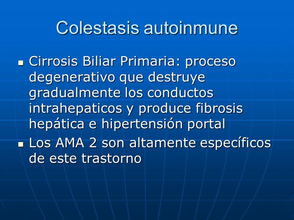 Colestasis autoinmune Cirrosis Biliar Primaria: proceso degenerativo que destruye gradualmente los conductos intrahepaticos y produce fibrosis hepátic