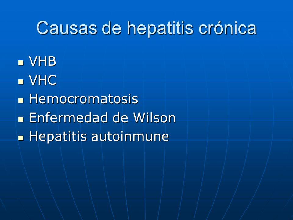 Causas de hepatitis crónica VHB VHB VHC VHC Hemocromatosis Hemocromatosis Enfermedad de Wilson Enfermedad de Wilson Hepatitis autoinmune Hepatitis aut