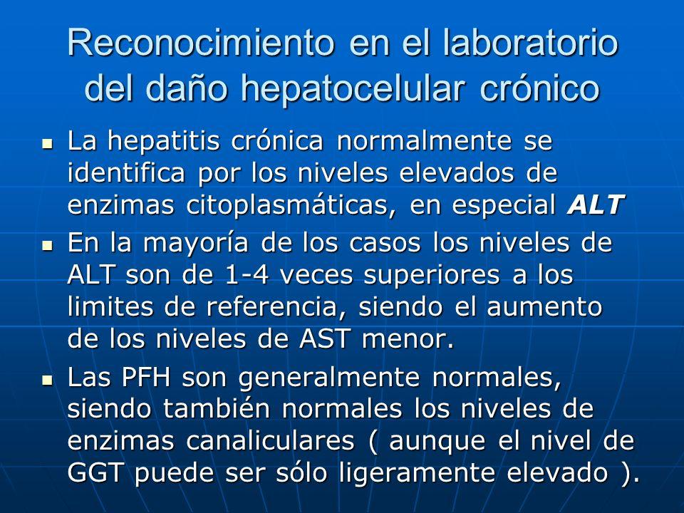 Reconocimiento en el laboratorio del daño hepatocelular crónico La hepatitis crónica normalmente se identifica por los niveles elevados de enzimas cit