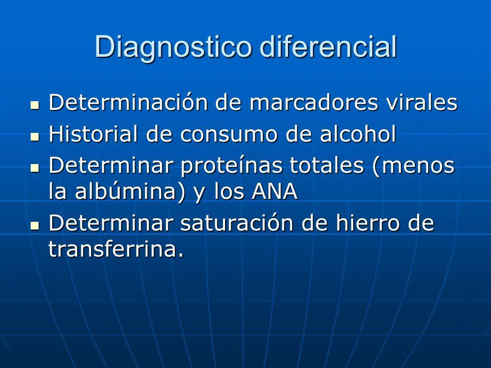 Diagnostico diferencial Determinación de marcadores virales Determinación de marcadores virales Historial de consumo de alcohol Historial de consumo d