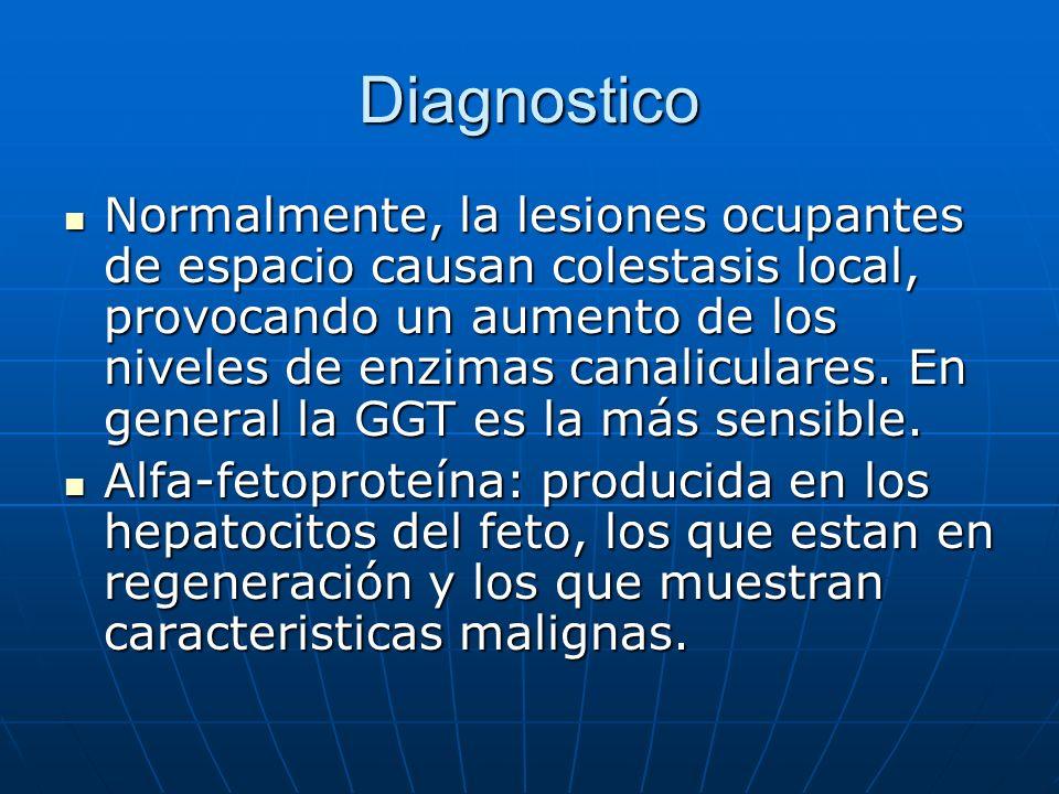 Diagnostico Normalmente, la lesiones ocupantes de espacio causan colestasis local, provocando un aumento de los niveles de enzimas canaliculares. En g