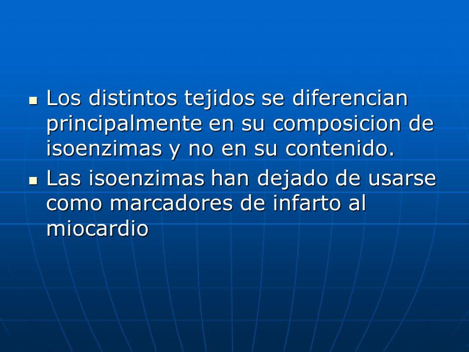 Los distintos tejidos se diferencian principalmente en su composicion de isoenzimas y no en su contenido. Los distintos tejidos se diferencian princip