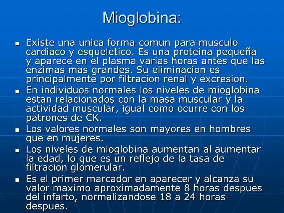 Mioglobina: Existe una unica forma comun para musculo cardiaco y esqueletico. Es una proteina pequeña y aparece en el plasma varias horas antes que la