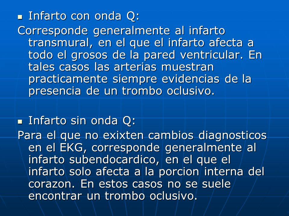 Infarto con onda Q: Infarto con onda Q: Corresponde generalmente al infarto transmural, en el que el infarto afecta a todo el grosos de la pared ventr