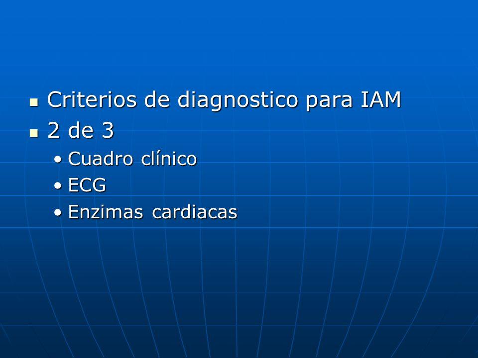 Criterios de diagnostico para IAM Criterios de diagnostico para IAM 2 de 3 2 de 3 Cuadro clínicoCuadro clínico ECGECG Enzimas cardiacasEnzimas cardiac