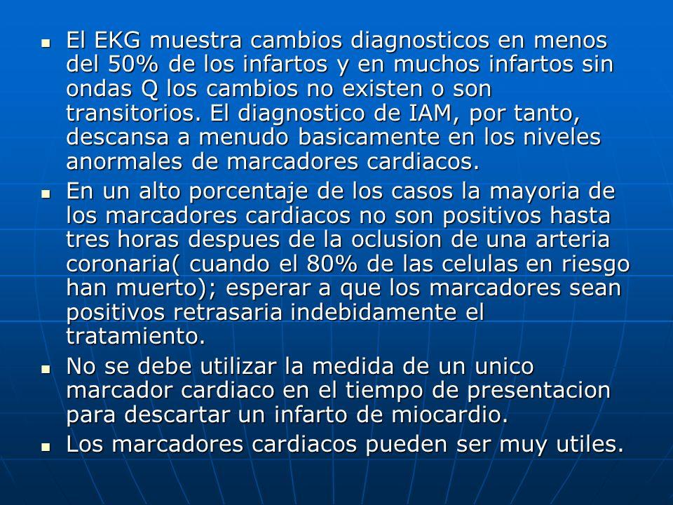 El EKG muestra cambios diagnosticos en menos del 50% de los infartos y en muchos infartos sin ondas Q los cambios no existen o son transitorios. El di