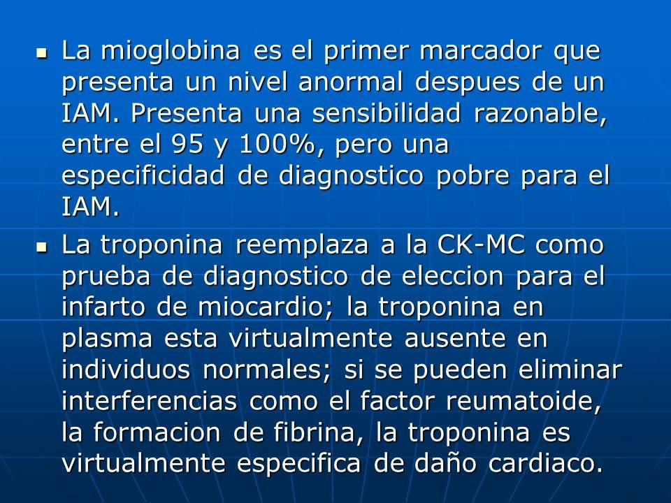La mioglobina es el primer marcador que presenta un nivel anormal despues de un IAM. Presenta una sensibilidad razonable, entre el 95 y 100%, pero una