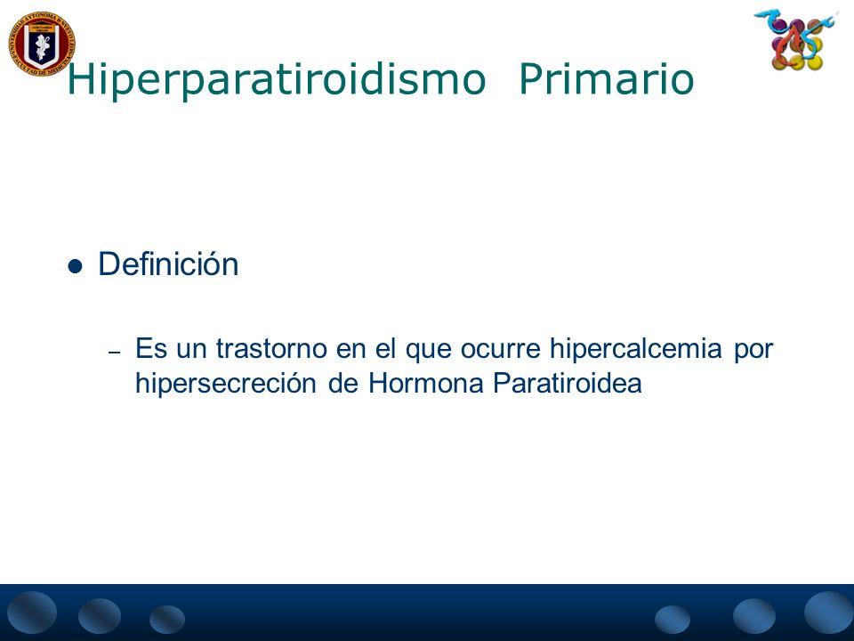 Hiperparatiroidismo Primario Etiología – 85% es ocasionado por Adenomas Solitarios Esporádicos – 10% de los casos se encuentra Hiperplasia de las 4 glándulas Con gran frecuencia son familiares heredadas de manera autonómica dominante (MEN I, II e hipercalcemia hipocalciurica familiar) – 5% Carcinoma