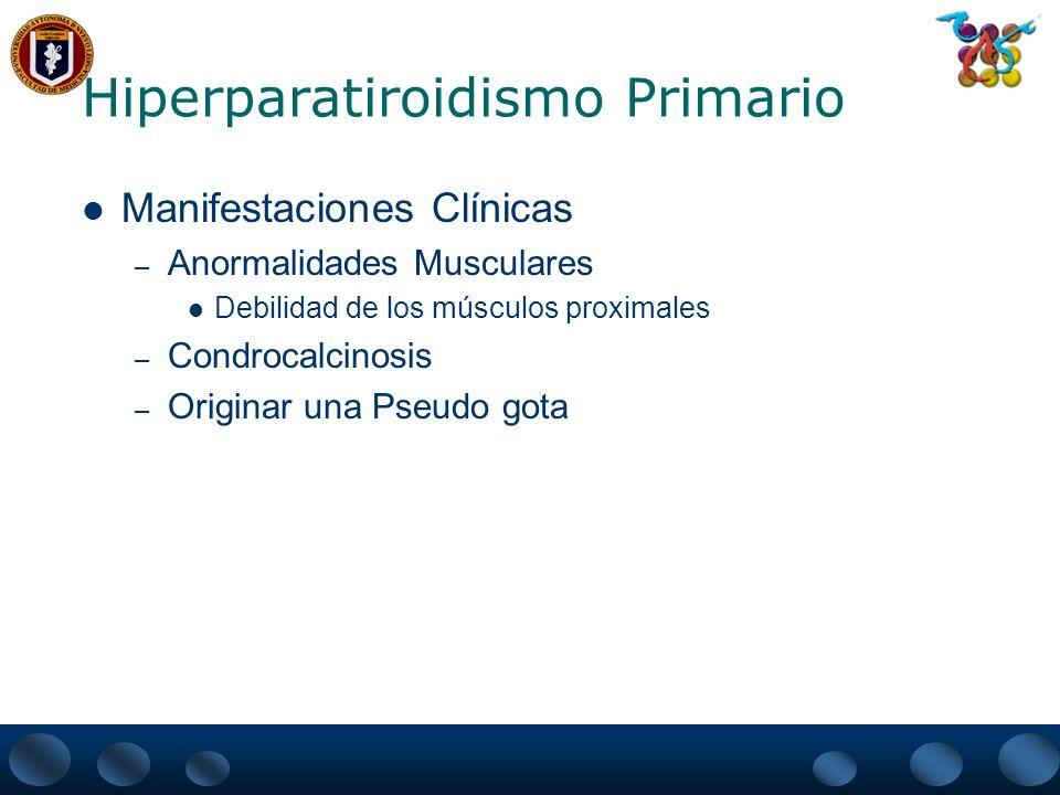 Hiperparatiroidismo Primario Signos – No hay datos físicos específicos Tumoración en cuello es raro encontrarla y es secundario a una tumoración maligna o benigna de la paratiroides Queratopatia en Banda (calcificación de la cornea a las 3 y a las 9 del reloj)