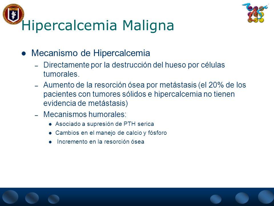 Hipercalcemia Maligna Mecanismo de Hipercalcemia – Directamente por la destrucción del hueso por células tumorales. – Aumento de la resorción ósea por