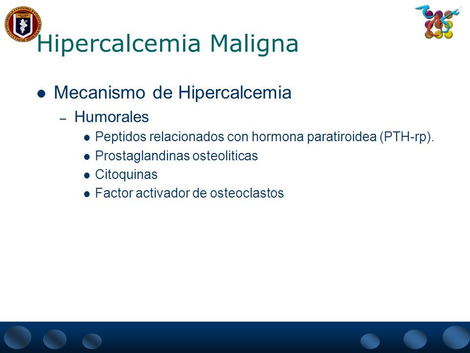 Hipercalcemia Maligna Cuadro clínico – Generalmente la hipercalcemia por causa maligna se presenta de manera Aguda Grave (como crisis hipercalcemica) Signo de pronostico grave