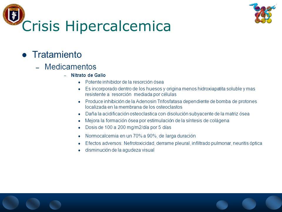 Crisis Hipercalcemica Tratamiento – Medicamentos – Plicamicina Antitumoral y Antibiótico Hipocalcemia fue encontrada como efecto adverso Efecto citotóxico directo sobre los osteoclastos Disminuye la resorción ósea mediada por células Efectiva en un 80% Dosis de 25 mcgr/Kg.