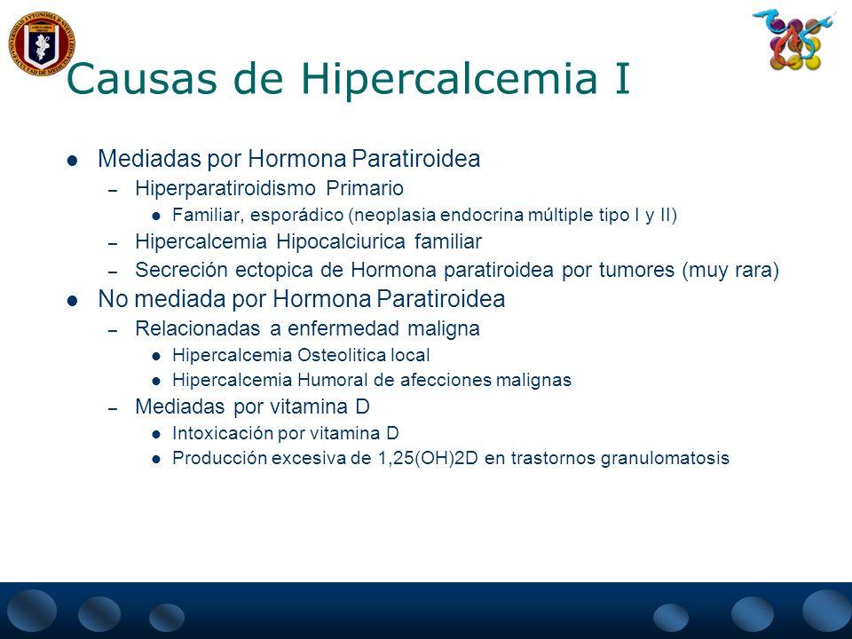 Causas de Hipercalcemia I Mediadas por Hormona Paratiroidea – Hiperparatiroidismo Primario Familiar, esporádico (neoplasia endocrina múltiple tipo I y