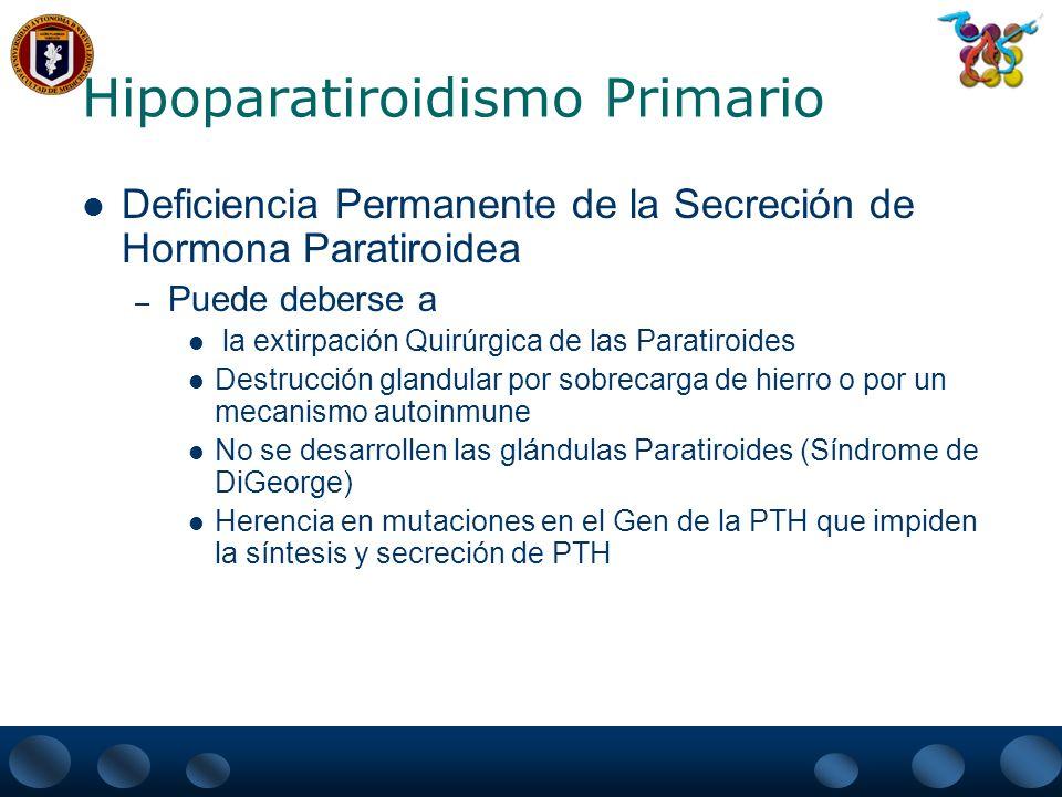 Hipoparatiroidismo Primario Deficiencia Pasajera de la secreción e Hormona Paratiroidea.