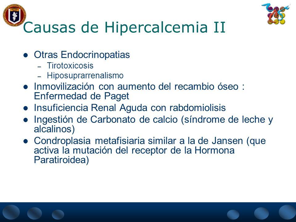 Causas de Hipercalcemia II Otras Endocrinopatias – Tirotoxicosis – Hiposuprarrenalismo Inmovilización con aumento del recambio óseo : Enfermedad de Pa