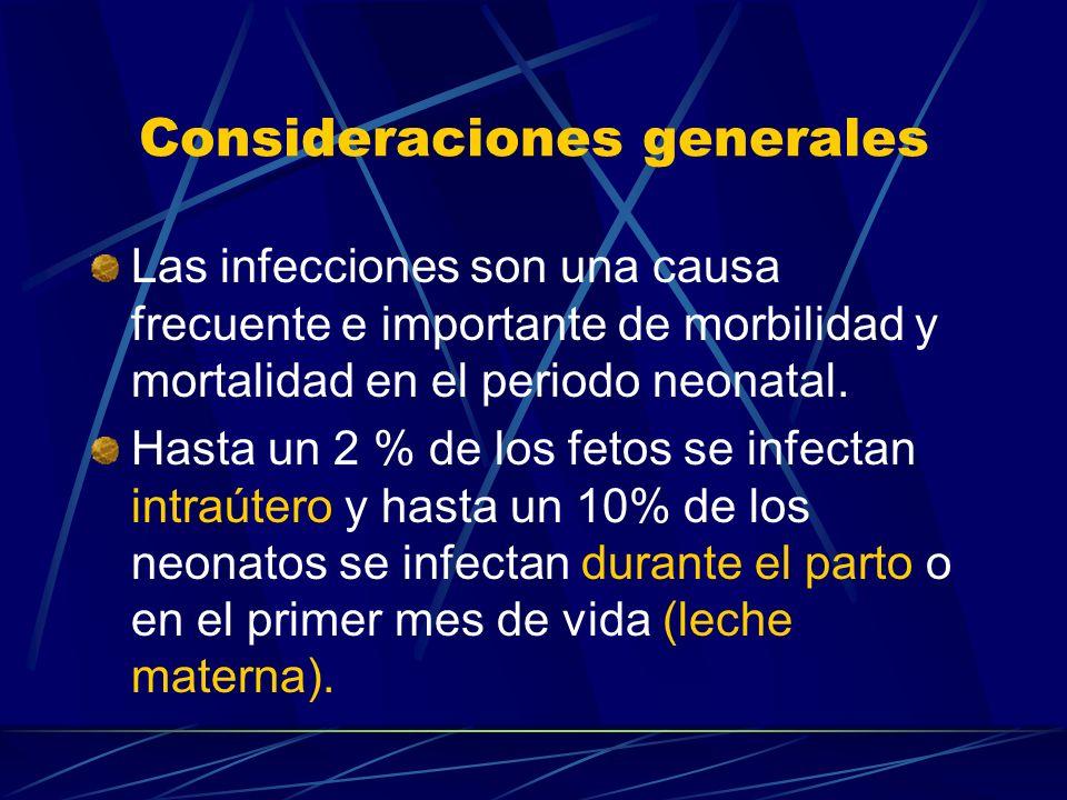 Consideraciones generales Las infecciones son una causa frecuente e importante de morbilidad y mortalidad en el periodo neonatal. Hasta un 2 % de los