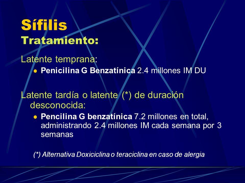 Sífilis Tratamiento: Latente temprana: Penicilina G Benzatínica 2.4 millones IM DU Latente tardía o latente (*) de duración desconocida: Pencilina G b