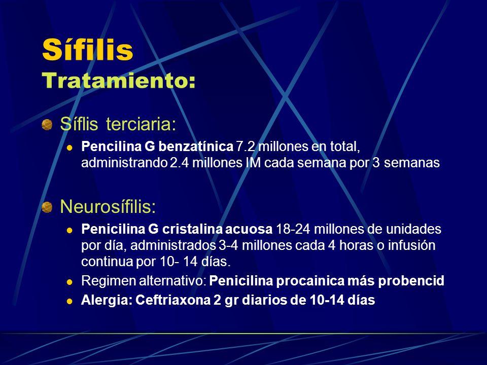 Sífilis Tratamiento: Síflis terciaria: Pencilina G benzatínica 7.2 millones en total, administrando 2.4 millones IM cada semana por 3 semanas Neurosíf