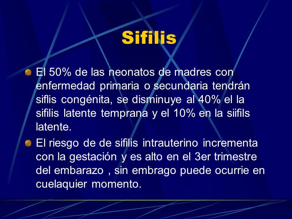 Sifilis El 50% de las neonatos de madres con enfermedad primaria o secundaria tendrán siflis congénita, se disminuye al 40% el la sifilis latente temp