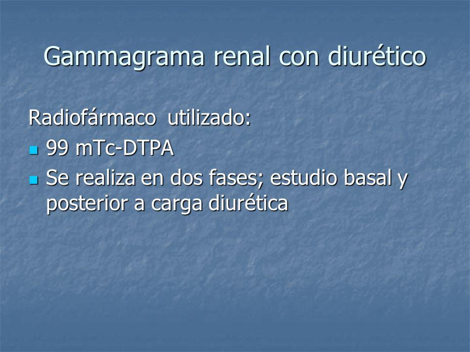 Gammagrama renal con diurético Radiofármaco utilizado: 99 mTc-DTPA 99 mTc-DTPA Se realiza en dos fases; estudio basal y posterior a carga diurética Se