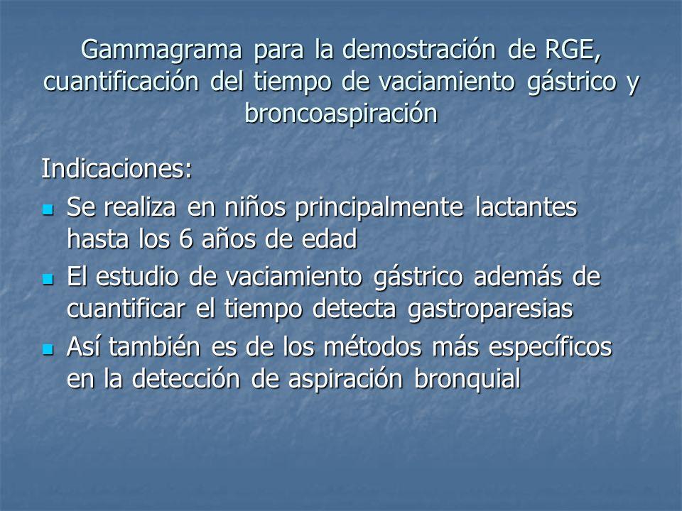 Gammagrama para la demostración de RGE, cuantificación del tiempo de vaciamiento gástrico y broncoaspiración Indicaciones: Se realiza en niños princip