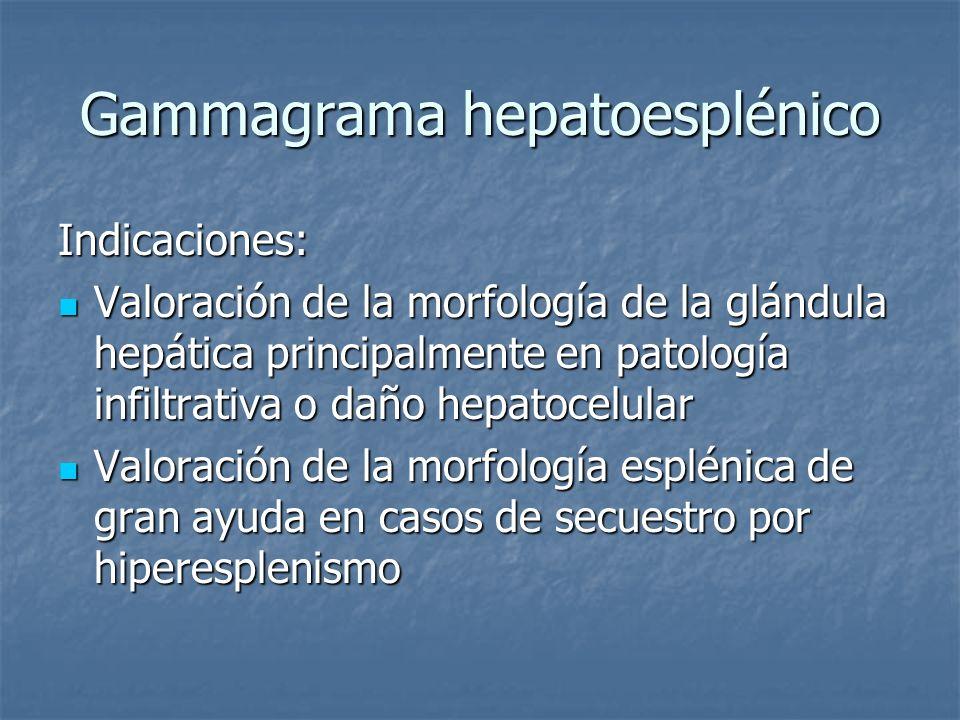Gammagrama hepatoesplénico Indicaciones: Valoración de la morfología de la glándula hepática principalmente en patología infiltrativa o daño hepatocel