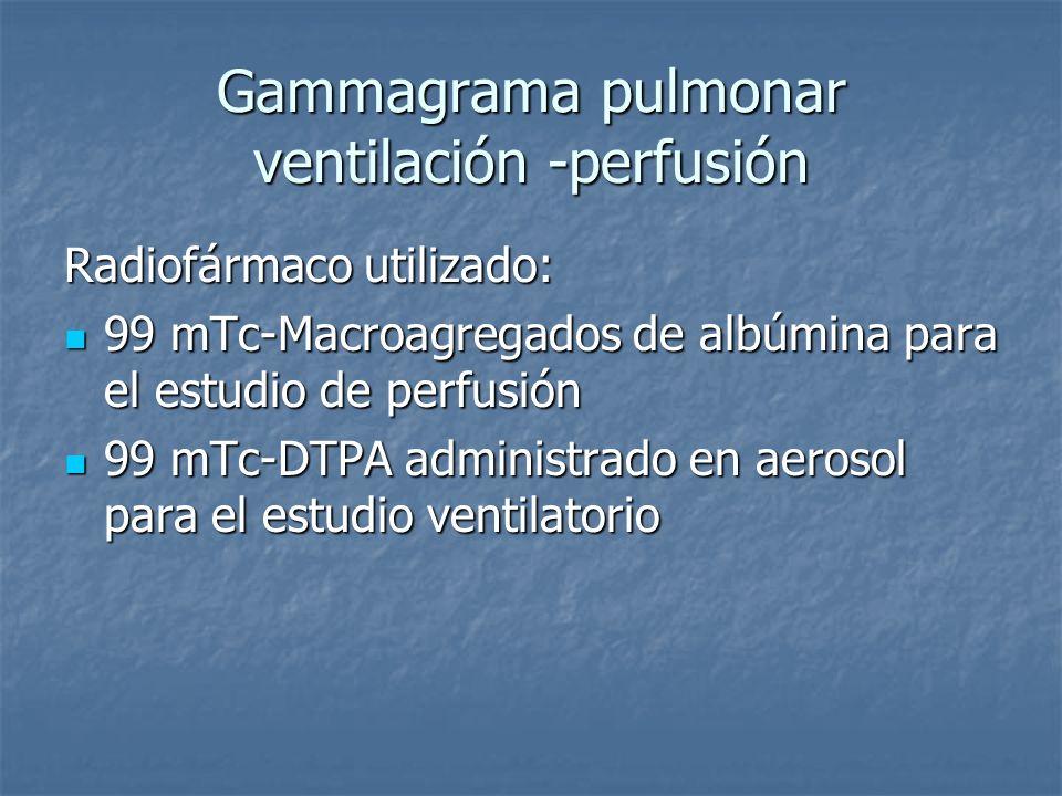 Gammagrama pulmonar ventilación -perfusión Radiofármaco utilizado: 99 mTc-Macroagregados de albúmina para el estudio de perfusión 99 mTc-Macroagregado