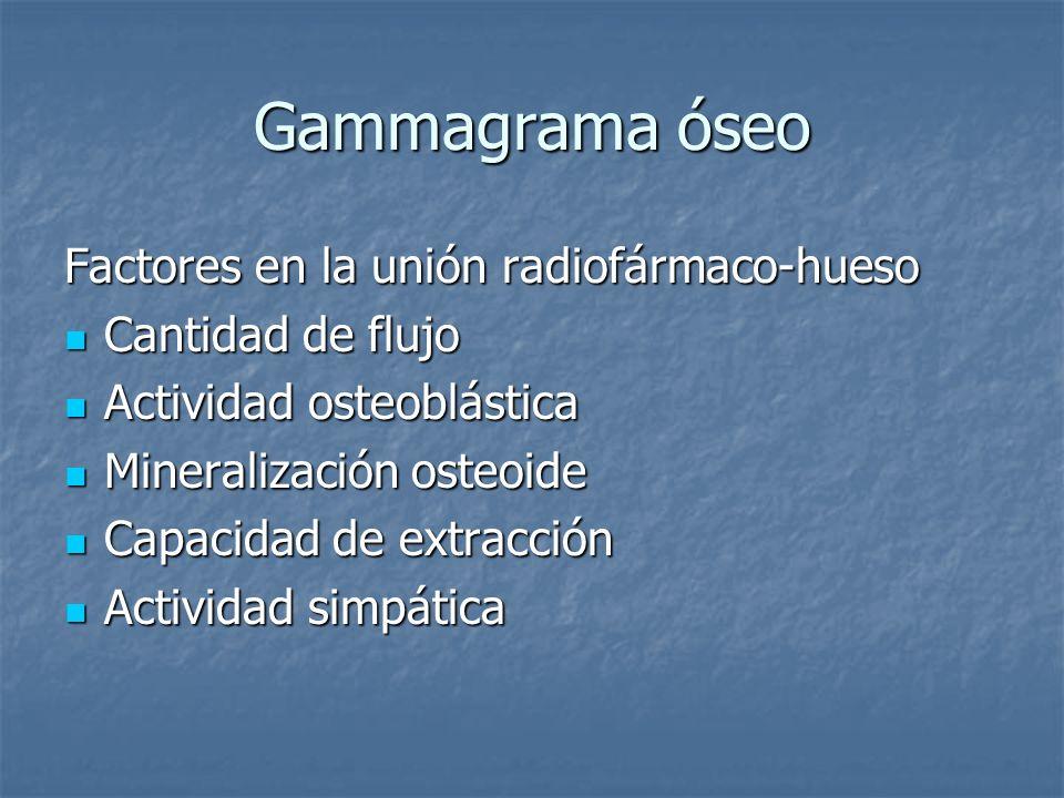 Gammagrama óseo Factores en la unión radiofármaco-hueso Cantidad de flujo Cantidad de flujo Actividad osteoblástica Actividad osteoblástica Mineraliza