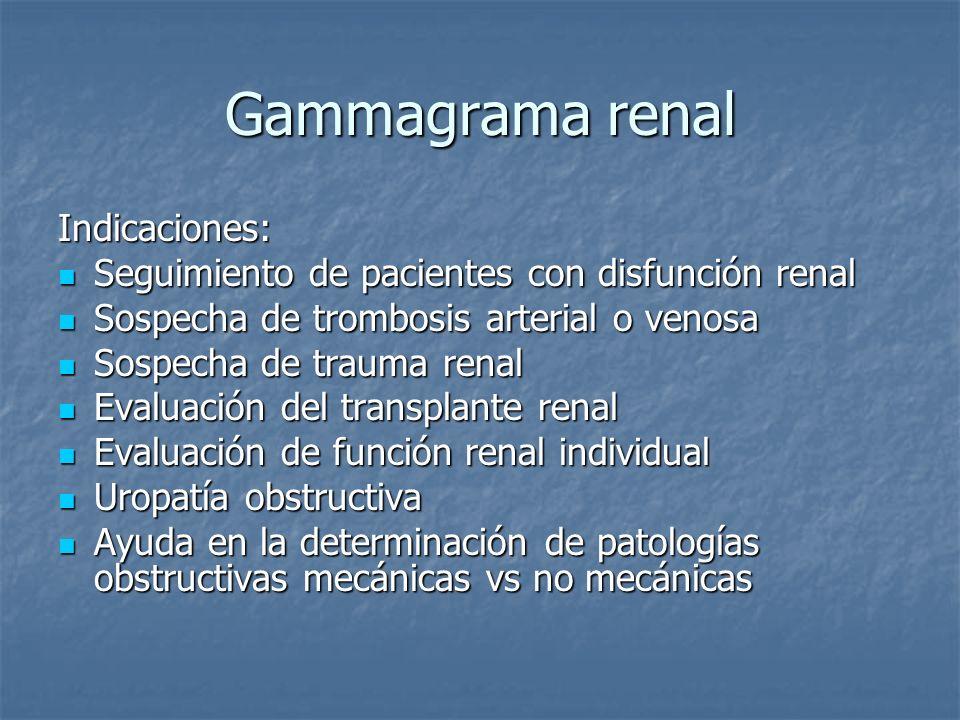 Gammagrama renal Indicaciones: Seguimiento de pacientes con disfunción renal Seguimiento de pacientes con disfunción renal Sospecha de trombosis arter