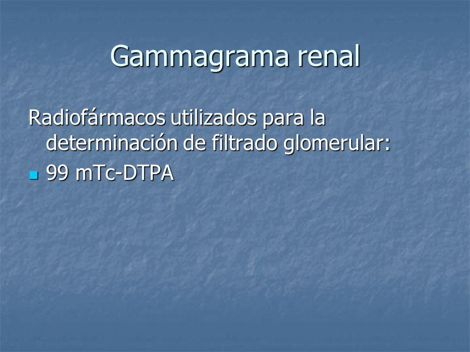 Gammagrama renal Radiofármacos utilizados para la determinación de filtrado glomerular: 99 mTc-DTPA 99 mTc-DTPA